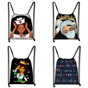 Lady Drawstring Backpack Nurse Imprimé Afro Ladies Cartoon épaule Sacs à dos en polyester Sac à cordonnet adolescents caractère Cartable 060813