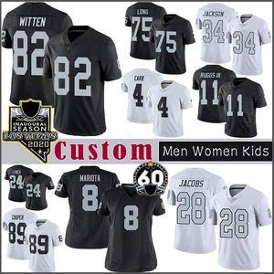 34 Bo Jackson Josh Jacobs OaklandFußballjerseys Benutzerdefinierte Männer Frauen RaiderDerek Carr Clelin Ferrell Johnathan Antonio Brown lange