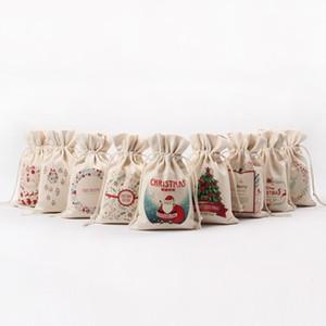 venta caliente de Navidad Bolsa de regalo del algodón puro hecho a mano de la lona del lazo de saco bolsas de dulces regalo envuelto bolsa DHB1423