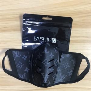 New Couro Designer Máscara Facial Máscaras Homens Mulheres Cara da forma Preto Designer Leather Facemask luxo máscara filtro à prova de poeira Vida lavável D # 653