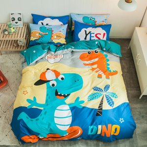 Dinosaurs Bedding set 100% cotton child boys bed linen kid bedclothes flat fitted sheet cat cartoon bed set girl duvet cover