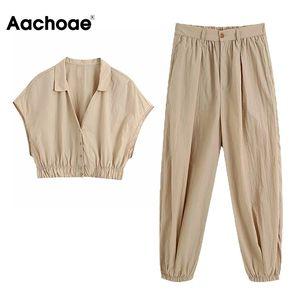 Aachoae المرأة عارضة قطعة اثنين من مجموعة أعلى وسروال أكمام اقتصاص بلوزة مع بنطلون أزياء مطوي الصلبة 2 قطعة تتسابق T200826