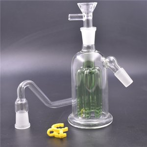 Cheapest glass bong oil rig 8 Arms Tree Perc ash catcher water bongs 5.5inch recycler water bong with tobacco bowl and pot