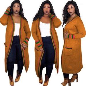 Stripe Длинных женщины Верхней одежда Ribbon Плюс Размер Весна дама дизайнер Кардиган пальто Женская Одежда Сыпучего Красный Зеленый