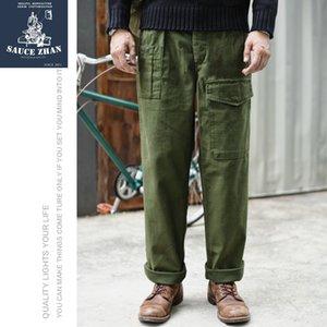 P37 SauceZhan pantalones del ejército británico OG107 Utilidad Fatiga pantalones clásicos de satén de oliva pierna ancha Capris por carretera