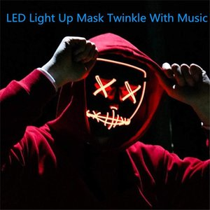 Halloween LED Mask Purge Masks Election Mascara Costume DJ Party Light Up Masks Glow In Dark Mascara Horror Mask Glowing 2020