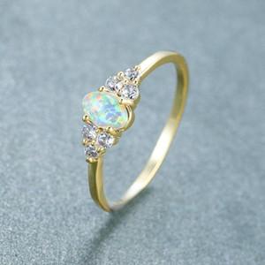 Fashion simple golden white opal ring female peripheral set fine white cubic zircon ring women wedding engagement