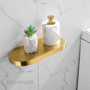Gold Badezimmer Zubehör-Set 304 Edelstahl Toilettenpapierhalter WC-Bürstenhalter der Wand befestigte Brushed Badezimmer Hardware bbyNNA