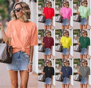 Womens Knotted Plus Size Tshirt Summer New Street Solid Color Round Neck Short Sleeve Loose Casual Tees