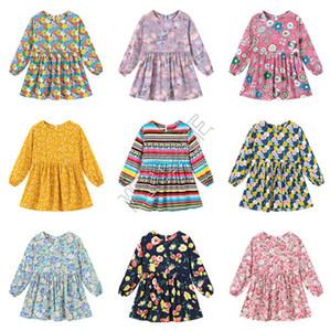 90-130cm principessa delle ragazze cute donna a maniche lunghe Abiti Flora banda di stampa dei fiori complesso pullover camicette parti superiori di modo Abbigliamento D82005