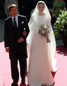 2021 Simples Long Sleeves Ivory Soft Satin Wedding Dresses A Line Sexy Backless Train Bride Garden Chapel Bridal Gowns Vestidos de novia