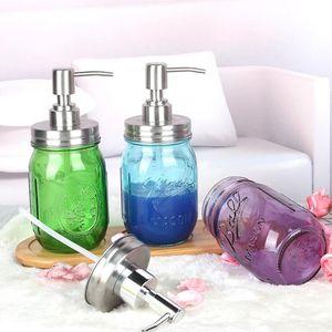 Flüssigseifenspender Pump Glasglas Edelstahldeckel Dispensers Aufsatz- Lotion Badezimmer Lagerung Werkzeugaufbewahrung 500ml OWF1013 Flasche