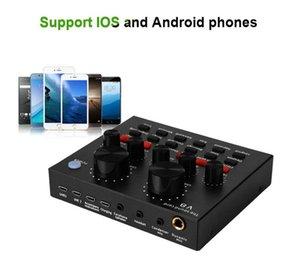 라이브 방송을위한 V8 사운드 카드 다기능 라이브 사운드 카드 USB 오디오 인터페이스 지능형 볼륨 조절 오디오 믹서 사운드 카드
