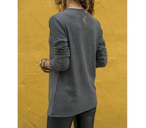 Womens Tshirt Fashion Long Sleeves Split Tops Spring and Autumn Ladies Casual Clothes Designer Leather00