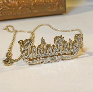 Collana Duoying zircone Personalizzato doppio Collana in oro placcato 3D targa personalizzata collane girocollo Donne Collana con nome