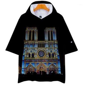 Paris Hommes Femmes T-shirts d'été Mode Imprimé 3D Tops manches courtes T-shirts Notre Dame de