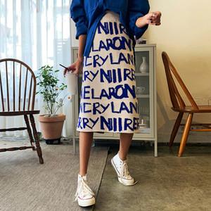 Falda de las mujeres del suéter de punto de impresión de letras de Corea de la falda de la cintura HGIH invierno largo abrigo de diseñador de moda 2020 K791