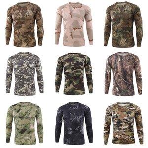 Erkek tişörtleri O Yaka Uzun Kollu Kasetli Kamuflaj Desen Fermuar Tasarım Pamuk Slim Fit For Man Erkekler Spor Tişörtü # 703
