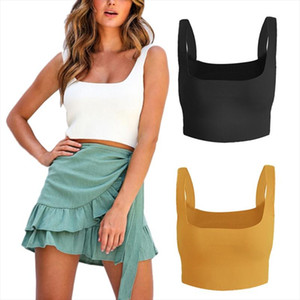 2020 Sexy Women Streetwear Solid Strappy Tanks Vest Crop Top Summer Sleeveless Knitted Tanks Beach Women Sports Tank Tops
