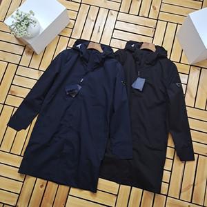 2020 hommes vestes coupe-vent rétro style classique américain Business casual Haut à capuche fibre élastique à mi-longueur coupe-vent veste chaude