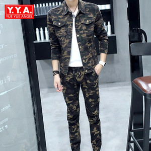 Spring 2020 New Fashion Mens Sets Camouflage Long Sleeve Man Jeans Coat Biker Elasitc Waist Full Length Denim Trousers