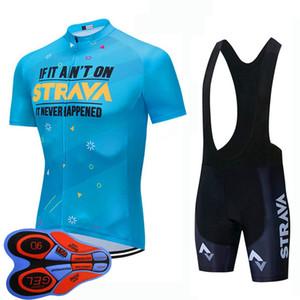 2020 Strava Team Men Cycling Short Sleeve Jersey 2020 Summer quick dry bike shirt bib shorts suit bicycle Outfits Sports Uniform Y20090202