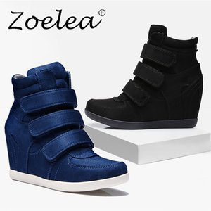 Zoelea Fashion Platform Shoes Woman Ankle Boots Hidden Wedges Comfort Sneakers Female Flock Casual Ankle boots Femme