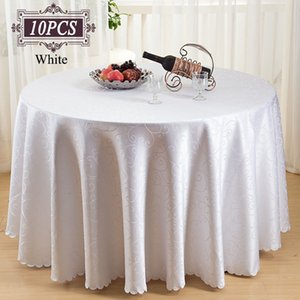 Free Shipping 10PC Luxury Poly Round Tablecloth Damask Jacquard Round Table Cloth for Wedding Favors Christmas Party Decoration