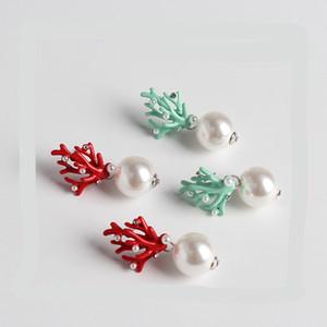 İmitasyon Kırmızı mercan Geyik Boynuz Küpe Beyaz Sahte İnci saplama Noel Küpe Moda Noel Hediye Takı Tatil Partisi Kulak Aksesuarları