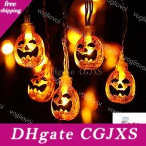 Luces de la secuencia de Halloween 1 .5m 2m 3m 6m 3v calabaza 3d Jack -O -Lantern calabaza luz de tira con pilas al aire libre de vacaciones Luz Garland Dhl