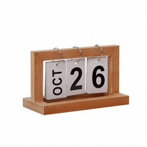 Desktop Modern madeira Advent Table Desk Calendar Wood Block Planer Permanente de desktop Organizador Agenda dUa0 #