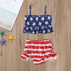 2pcs enfants Maillots de Split Bikini Populaire Bracelet Costume Independence Day Enfants Wear étoiles Filles Maillot bébé Maillots de bain