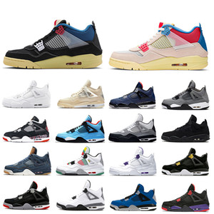 Nike Air Jordan Retro 4 Sail Union x Jumpman 4 Mens Basketball shoes Neon Metallic Pack Royalty cactus Jack White Cement 4s Pure Money Trainers Men Sports designer Sneakers