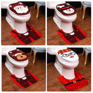 Natale igienici copertura Tappeto da bagno Mat Set Decor Santa Snowman Natale sedili WC coperture decorazione domestica HHA1534