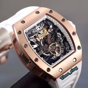 İyi Sürümü RM 38-01 İskelet Dial Rose Gold Çelik Kasa Japonya Miyota Otomatik Hareket RM 38-01 ERKEK KOL Beyaz Kauçuk Kayış Saat