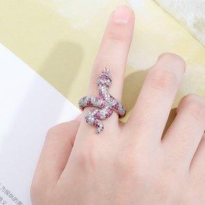 Serpente dell'anello di alta qualità fuori ghiacciato fascino cubico Anello Hip Hop Jewelry Roccia anello animale annata Zirconia Uomo