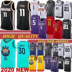 Trae 11 Young Stephen Curry 30 Мужчины NCAA Tim 21 Duncan New Баскетбол Джерси Девин 1 Букер Mo 5 Бамба Ману Жинобили 20 2020 Hot Top