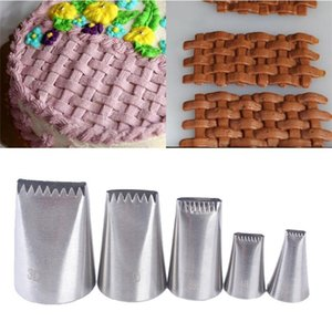 5Pcs set Stainless Steel Cake Icing Piping Nozzle Basket Weave Pastry Tips Cake Cream Cupcake for Sugar Craft Decorating