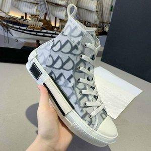 2020 Top Quality B22 B23 Scarpe Casual High Low Top Sneakers Oblique Trainer Ricamo stampato Alfabeto Canvas Scarpe da donna Scarpe da uomo Stilista