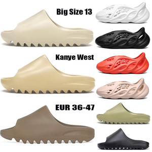 2020 Новая пена бегуна сандал тапочки Тройная черная белая кость смола пустыни песок канье у западных мужчин женщин мода слайды сандалии обувь нам 5-13