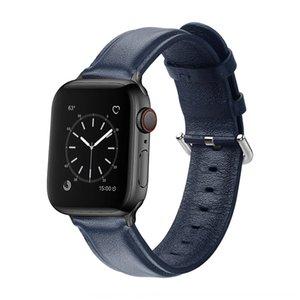 primera capa de piel de vaca de la correa de reloj de pulsera for4 Adecuado iwatch5 correa de reloj de cuero cola redondo