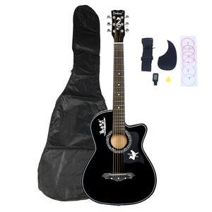 Siyah Moda 38 inç Basswood Kesit Akustik Gitar W / Çanta Dize Acemi Nakliye için Torba Dize Pick Askı