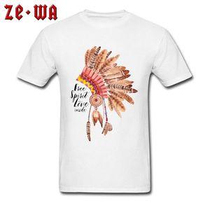 Dreamcatcher футболки Men Street Style Футболка Indian Art Design Мужские Топы Тис Хлопок Белые одежды Free Spirit Любовь Inside