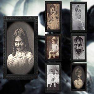 Bar Haunted House'un 3d Hayalet Festivali Yüz Değişikliği Fotoğraf Çerçevesi Sahne Dekorasyon Prop Horror Boyama Cadılar Bayramı Korku Fotoğraf Çerçevesi Dekoratif