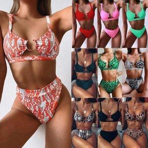 Swimsuit 2020 Explosion Modelle Badebekleidung Außenhandel Damen aufgeteilter Badeanzug grün Leoparden-Bikini neue feste Farbe Bademoden Europa 5qBn #