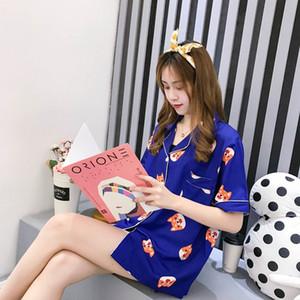 Women Pajamas Cotton Korean Style Sleepwear Harajuku Cute Stripes Rabbit Hearts Mouse Dogs Printed Pyjamas Shirts And Pants Sets 200925