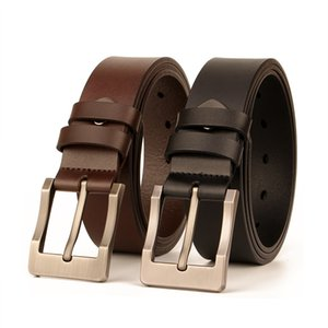 Leather Belt Mens Leather Casual Pants Belt Mens Two-Layer Cow Leather Belt Pin Buckle Jeans Waistband Men