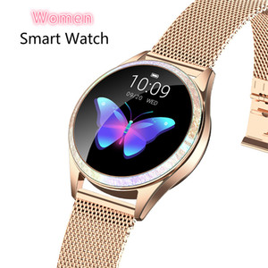 Tela mulheres relógio inteligente Bluetooth completa Smartwatch Heart Rate Monitor Sports Watch para IOS Andriod KW20 Lady relógios de pulso