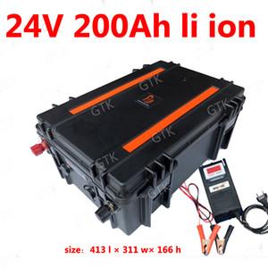li impermeável 24V 200AH lítio bateria de iões de BMS 7s para RV Triciclo backup de energia van golf solar de carrinho + 10ACharger