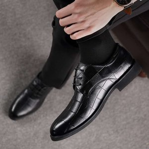 2020 summer new men's casual business leather shoes formal wear men's shoes single shoes breathable air design lkm322